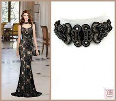 Black lace is all the rage among the fashion savvy!    #DoriCsengeri #black #lace #elegant #evening #dress #choker #collar #highfashion #covetfashion