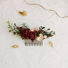 burgundy wedding hair piece deep red flower hair clip
