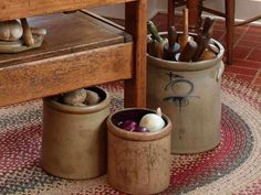 You may have one or a collection of stoneware crocks. Whether they were used for butter churn crocks, pickle or pickling crocks, sauerkraut . Antique Crocks, Old Crocks, Antique Stoneware, Stoneware Crocks, Antique Pottery, Primitive Homes, Primitive Kitchen, Primitive Antiques, Country Primitive