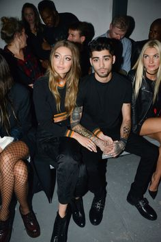 Gigi Hadid and Zayn Malik attend the Versus Versace show during London Fashion Week Spring/Summer collections 2016/2017 on September 17, 2016.