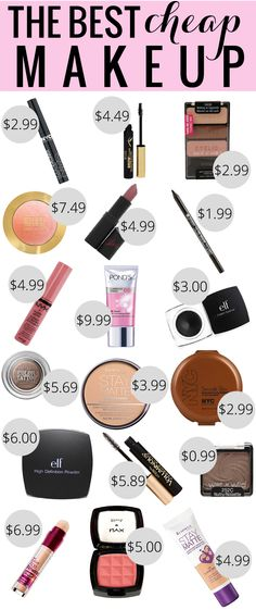 The Best Cheap Makeup, best drugstore makeup, makeup under $10 - this is an excellent round up - about half of the list are things I do use - missing some items but a lot of good ones