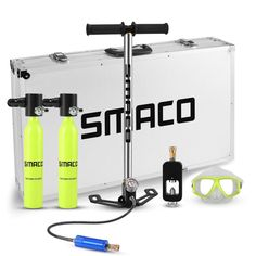 SMACO Two oxygen cylinder sets Mini scuba diving equipment tank total freedom breath underwater for 5 to 10 minutes . Scuba Diving Equipment, Scuba Diving Gear, Sea Diving, Cave Diving, Water Toys, Tactical Gear, Snorkeling, Shtf, Outdoor Gear