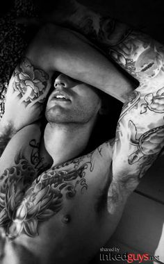 """InkedGuys.Net - Guys with Tattoos. Hot Pictures, Sexy Men, Beautiful Tattoos."" That lotus is beautiful. I wish I had had the mind to ask for detail like this. [ SensualLoveToys.com ]"