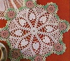 free crochet hearts and flowers doily pattern