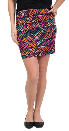 "Get into the Groove Skirt  Fitted  Mini skirt  6"" zip up closure at back  Stretchy, soft fabric  Fabric 65% polyester 35% cotton  Measurements (size Small) 16"" length  Kendra (model) is wearing a size Medium"