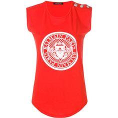 Balmain Logo Print Cotton T-Shirt (15.060 RUB) ❤ liked on Polyvore featuring tops, t-shirts, red, balmain t shirt, balmain, red top, red t shirt and balmain tee