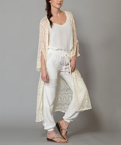 Look at this Morning Apple Ivory Crochet Open Duster on #zulily today!