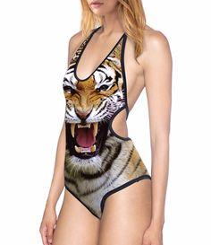 4e8406feb1568 New 1006 Sexy Girl Summer Animal Tiger Prints One Piece Swimsuit Monokini  Halter Backless Women Swimwear Bathing Suit