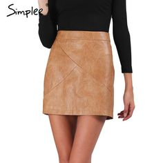 Simplee Winter high waist classic faux leather skirt Chic slim bodycon pencil skirts Casual autumn black short skirt *** Click image to review more details.