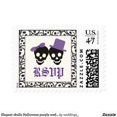 Elegant skulls Halloween purple wedding RSVP stamp