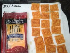 Cheez-Its These, to me, taste just like Cheez-Its.  Cut each Ultra Thin Sargento Sharp Cheddar Cheese slice into quarters, place on PARCHMENT paper, NOT waxed paper.  As noted in picture, bake at 300 degrees for 30 minutes.  Remove and place on paper towels to soak up excess oil.