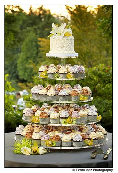 like this... but with some blue ombre things happening... and fondant love birds on a wire on the side of the top cake.