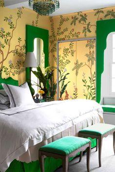 If you've already decided you want to spotlight green or you still need some convincing and inspiration, you're in the right place. We're showcasing designer green bedrooms that set the gold standard for decorating with this nature-inspired color. Keep reading to see how this versatile anchor color can transform just about any bedroom, no matter where it is—an estate, city apartment, or even a mountain chalet. Green Bedrooms, Bedroom Green, Sun Shine, Paint Cans, Nature Inspired, Color Inspiration, Window Treatments, Green Colors, Spotlight