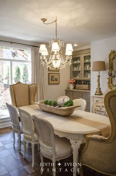 """Transformation   Dining Room  Edith & Evelyn Vintage re-do chair cushions with scrolled fabric or do """"grain sack"""" look"""