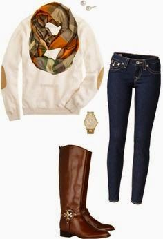 white sweater with elbow patches, skinny jeans, brown boots, and a patterned scarf. Super cute fall look Outfits Otoño, Casual Outfits, Europe Outfits, Boot Outfits, Simple Outfits, Fall Winter Outfits, Autumn Winter Fashion, Elbow Patch Sweater, Elbow Patches