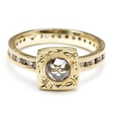 Square floral champagne diamond ring