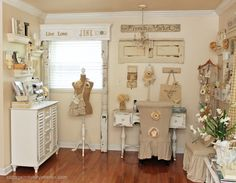 Oh, to have a wonderful space like this for sewing and creating!  (Junk Chic Cottage)