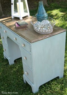 Desk makeover with a coastal vibe using Annie Sloan chalk paint and Weatherwood stain. {Canary Street Crafts}