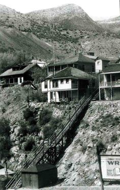 A photo showing stairs that lead from lower Tombstone Canyon to Quality Hill, circa 1920s-1930s.