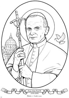 Welcome to Dover Publications School Coloring Pages, Coloring Book Pages, Jesus Drawings, Teaching Religion, Catholic Crafts, Pope John Paul Ii, Dover Publications, Christmas Drawing, Catholic Saints
