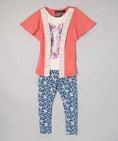 Love this Pink Horse Top & Blue Leggings - Girls by Self Esteem on #zulily! #zulilyfinds