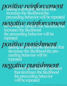 A fabulous description of what the different types of reinforcements… – Online Pin Page Psychology Resources, Psychology Major, Educational Psychology, School Psychology, Developmental Psychology, Behavioral Analysis, Behavioral Therapy, Social Work Exam, Operant Conditioning