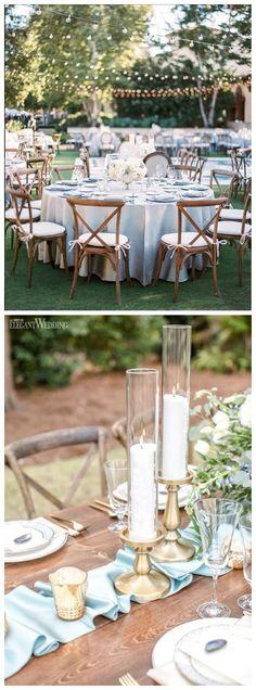 Dusty blue wedding reception decor idea #weddings #weddingideas