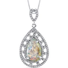 Item Number: SP11004    Availability: Usually Ships in 5 Business Days    PRODUCT DESCRIPTION:    With Kaleidoscope Rainbow Hues, this Sterling Silver Opal Pendant features brilliant round cubic zirconia that surround its colorful center in a beautifully intricate design.    FEATURES:        Crafted in Sterling Silver  (1) 15.0 x 10.0mm Pear Shape Lab Created Opal  Brilliant Cubic Zirconia  Intricate Trim Design  Pendant Dimensions: 1 1/2 x 3/4 Inch     Shop this product here…