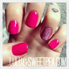 Lulu & Sweet Pea: Hot pink & glitter gel manicure {How to embed glitter}