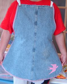 Denim Apron from old jeans legs. I LOVE to make new out of old!