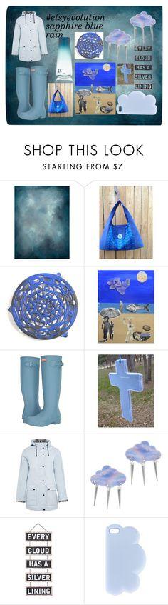 """#etsyevolution sapphire rain"" by corkycrafts-1 ❤ liked on Polyvore featuring Leftbank Art, Hunter, memento, Topshop, Suzywan DELUXE, Silver Lining, STELLA McCARTNEY, Vitreluxe and estyevolution"
