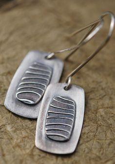 Fine silver textured dangles.