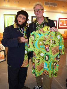 """Shag welcomes Cornelius to Shag the Store in Palm Springs for the release of his """"Chimp"""" Aloha shirt on Dec. 18. (Photo by Kari Hendler)"""