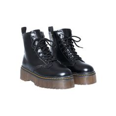SheIn(sheinside) Black Casual Thick-soled PU Boots ($36) ❤ liked on Polyvore featuring shoes, boots, black, kohl shoes, thick shoes, pu shoes, pu boots and black boots