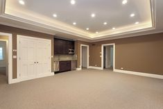 Basement home design and interior design gallery, Basement Floor Options With Brick Walls. Basement Bedroom Ideas With Wall Color Brown. and Basement Bedroom Ideas With Glass Table at Giesen Design House Design, House, Basement Ceiling, Installing Recessed Lighting, Home, Basement Decor, Basement Remodeling, Basement Colors, Home Remodeling