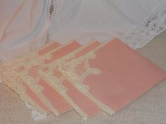 Set of Four Pink/Peach Linen and Battenburg Lace by ParasolTree, $12.00