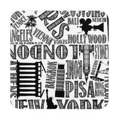 Metropolitan, Famous Cities, Monogram, Modern Beverage Coaster