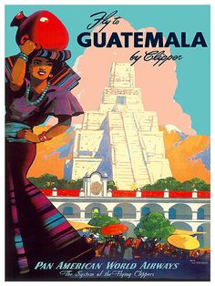 Guatemala Travel Art Vintage South America Poster by Blivingstons