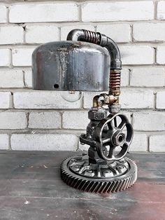 Industrial steampunk lamp/Pipe loft lamp/Industrial steam punk/Edison lamp/Machine age table lamp/Steam lamp/Cast iron lamp/Etsy gifts lamps