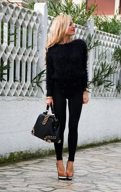 Black fluffy sweater, high waist pants, Zara killer heels - outfit winter 2014 italian fashion blogger It-Girl by Eleonora Petrella