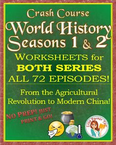 @greathistory posted to Instagram: Tap the link in my bio for loads of great history teaching ideas: @greathistoryteaching . FOR A FUN WAY TO TEACH WORLD HISTORY: Crash Course World History worksheets for the first AND second seasons-- all 72 episodes -- available in one download at a super-low-price! Features a variety of worksheet formats to keep student interest high, as well as answer keys for every episode. All worksheets included in both standard and time-stamped versions to give… World History Map, Crash Course World History, European History, British History, Ancient History, Map Worksheets, Teaching History, History Classroom, Social Studies Resources