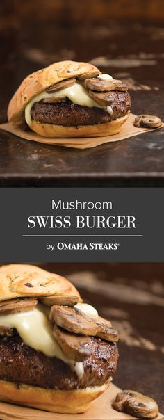 Omaha Steaks Burgers are grilled and served on an onion poppy seed bun; sautéed mushrooms and a slice of Swiss cheese gives this sandwich unforgettable taste.