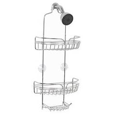 Eliminate shower clutter with Zenith's Chrome Shower Head Caddy. This unit's elegant chrome finish provides rust-resistance and durability in addition to its aesthetic appeal. Two spacious shelves and a soap tray can accommodate a wide variety of bathroom products. These shelves are self-draining, so standing water will not damage your stored items. Hang your razors by using curved wire located in the front of each shelf. Additionally, this premium caddy features hooks for han...