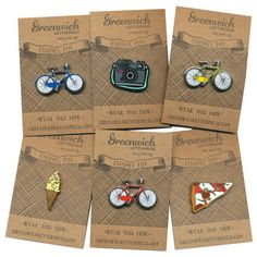 Enamel Pin by Greenwich Letterpress These are all my favourite things Make Your Own Pins, How To Make, Do It Yourself Fashion, Make It Yourself, Make Enamel Pins, Jacket Pins, Enamel Jewelry, Jewellery, Cool Pins