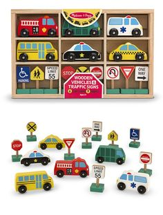 Wooden Vehicles and Traffic Signs: Six wooden vehicles and nine familiar signs furnish a world of travel and pretend-play fun! Car-loving kids will find everything they need to set up a busy street or add to train sets and blocks: The set includes emergency vehicles, a school bus, a taxi, garbage truck and nine brightly painted traffic signs for imaginative play. The included play extensions suggest skill-building activities to improve vocabulary and sorting, too.