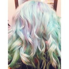 Pastel hair, using sky blue, sea foam green, lilac/lavender with curls or waves Lilac, Lavender, Pastel Hair, Sea Foam, Curls, Waves, Sky, Long Hair Styles, Green