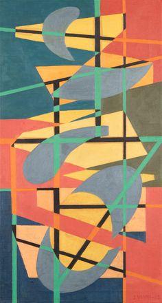 Sam Vanni: Sommitelma, 1952, öljy, 50 x 92 cm. Hagelstam