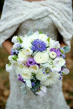 White Chrysanthemums, White Ranunculus, White Tulips, White Sweet Pea, Purple Scabiosa, Lavender Lisianthus & Broad Leaf Dusty Miller^^^^
