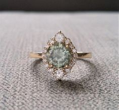 Grey Mint Moissanite