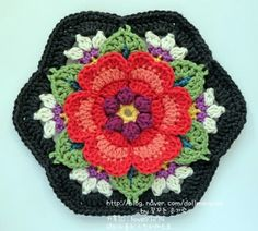 In 1939 Frida Kahlo painted a canvas that she named 'The Two Fridas'. Frida painted it after her divorce from Diego and it shows one versi. Crochet Puff Flower, Knitted Flowers, Crochet Flower Patterns, Crochet Motif, Crochet Designs, Crochet Doilies, Crochet Stitches, Knit Crochet, Crochet Blocks
